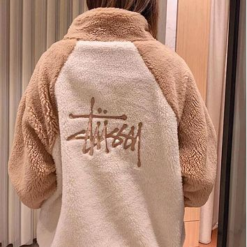 Stussy Winter Fashion Women Men Embroidery Lambs Wool Cute Sweater Cardigan Jacket Coat White/Khaki