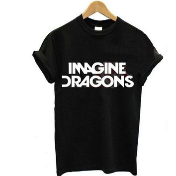 DCCKHY9 2015 New Women T shirt IMAGINE DRAGONS Letters Print Cotton T-shirt Casual Funny Shirt For Lady Black White Top Tees Plus Size