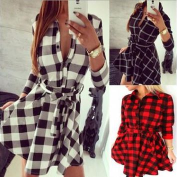Womens Stylish Plaid Checker Casual Dress