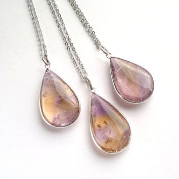 Ametrine Necklace Ametrine Pendant Ametrine Jewelry Stone Teardrop Necklace Silver Ametrine Stone Necklace Chain Ametrine Teardrop Purple