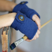 Hand Knitted blue gloves with vintage buttons. Knitted Fingerless Gloves. Arm Warmers.