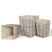 Adeco Multi-Purpose Tall, Square Iron Baskets with Newspaper Print Lining Home Decor, Set of 3