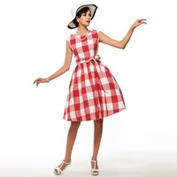Sisjuly Plaid Vintage Dress Summer Dress blue and pink  Women Summer Dress Plaid Dress
