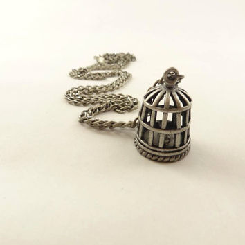 Antique Silver Toned Metal Bird Cage with Bird by toppytoppy