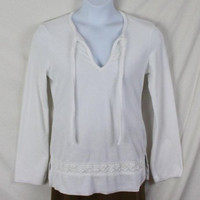 Banana Republic M size White Terry Cloth Tunic Top Lace Accent Hippy Boho Beach