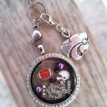 Collegiate Football Floating Keepsake Glass Living Locket