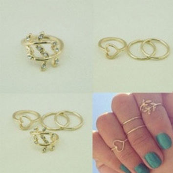 4PCS/Set Cute Urban Crystal Plain Above Knuckle Ring Band Midi Ring Gold/Silver Jewelry New Gift [8424516359]