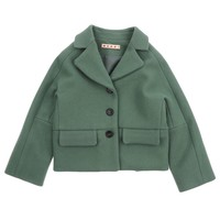 Marni Girls Green Blazer-Look Wool Coat