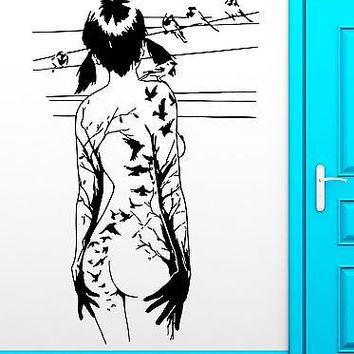 Wall Sticker Naked Girl Teen Sexy Birds Gothic Cool Decor For Bedroom  (z2511)