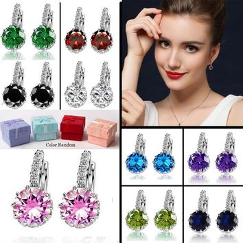 Gift Box Packing 9 Color White Pink Silver Purple Color Zircon Earrings For Women Crystal Stud Earring Fashion Wedding Jewelry