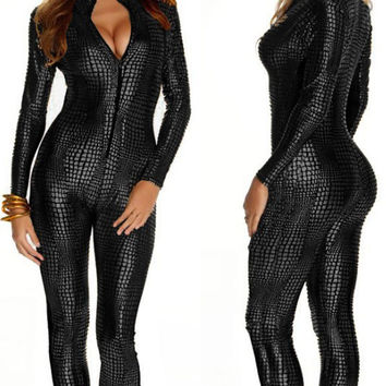 European 2016 Sexy Faux Leather Snake Skin Jumpsuit Front Zip Long SLeeve Yellow Black Grey Bodysuit Spandex Catsuit Women
