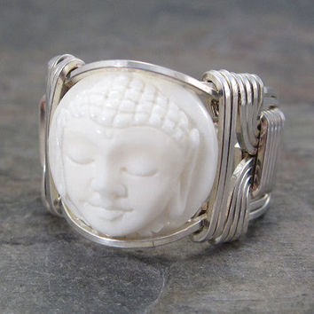 Carved Bone Bali Round Quan Yin Sterling Silver Wire Wrapped Ring ANY size