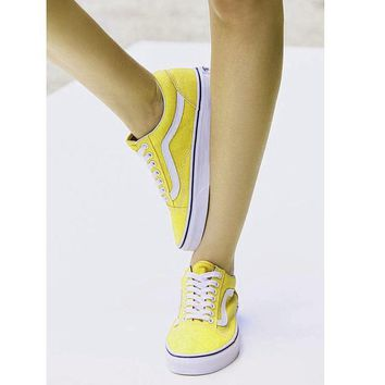 """VANS"" Fashion Women/man Running Sport Casual Shoes Sneakers yellow"