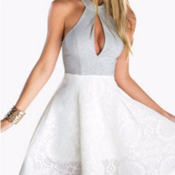 White and Gray Halter Keyhole Neckline Floral Skater Dress