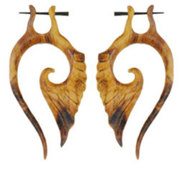 Unique Tribal Feather Horn Earring
