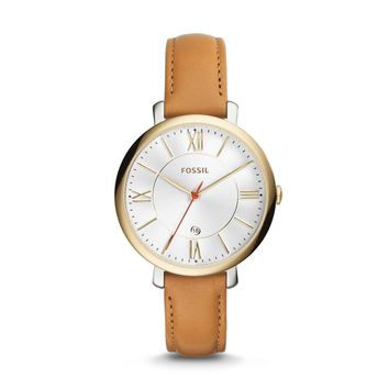 Fossil Women's Jacqueline Silver Dial Tan Leather Band Watch ES3737 (Color: Gold)