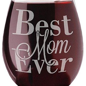 Stemless Wine Glass Clear 20 oz Best Mom Ever Mothers Day New Mom Birthday Christmas Appreciation Gifts for Mom Mommy Mum Mama