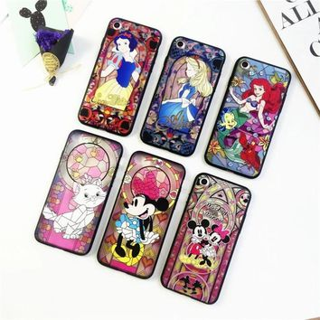 DTFQ Stained Glass Styles Snow White Alice in Wonderland Mermaid Micky Soft TPU Frame + Back Acrylic Case for iPhone 7 Plus 8 6s