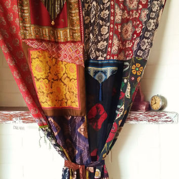 Gypsy Boho Curtains Hippie Drapes Panels Hippy Fringe Paisley Vtg Scarf Scarves Wall Decor