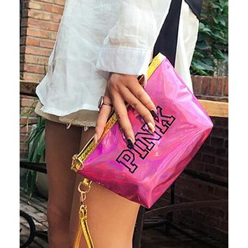 Victoria s Secret Pink New Fashion Women Laser Reflective Zero Wallet  Handbag Cosmetic Bag Rose Red I13250 889238b84