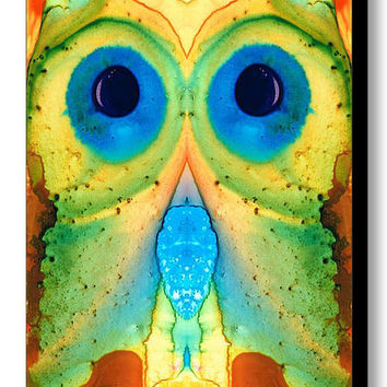 Owl Art PRINT From Painting Cute Bird Colorful Fun Happy Whimsical Blue Green Animal CANVAS Ready To Hang Artwork Zoo Funny Eyes Collectible