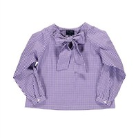 Check Cotton Long-Sleeve Blouse
