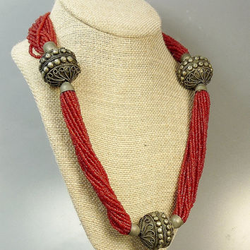 Vintage Ethnic Tribal Red Seed Bead & Silver Necklace