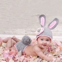 Joy Baby Grey Rabbit Crochet Costume Photo Prop (0-6months)
