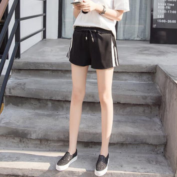 New Women Pants summer Solid Color side stripe sports shorts Trousers-0705