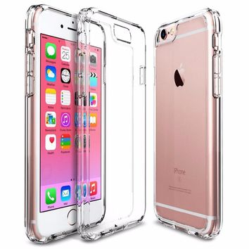 Clear Back Case for iPhone 6/6S/6 Plus/6S Plus Phone Cases Soft TPU Bumper+Hard PC Back Shell Shockproof Slim Case for iPhone 6