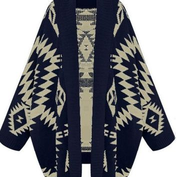 CREYUG3 Navy Batwing Long Sleeve Geometric Cardigan Sweater (Size: M, Color: Navy)