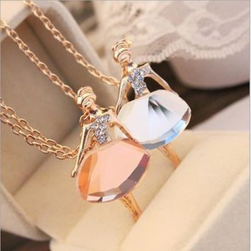 New Ladies Girls Fashion Ballet Girl Pendant Chic Choker Bib Crystal Chain Necklace Lovely Jewelry Party 0172