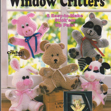 "Crochet Window Critters booklet complete instructions for making 8"" stuffed pig, raccoon, bunny, bear, cow, cat to stick on your window"