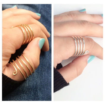 Barred Wrap Around Thumb Ring, Adjustable Wire, 16 gauge, Silver or Gold