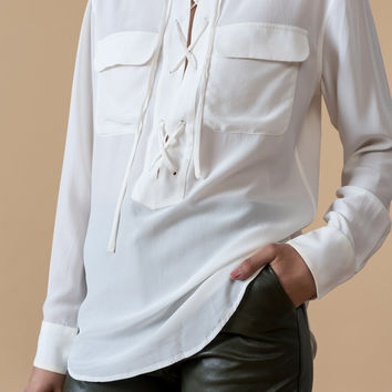 Lace-up Silk Shirt