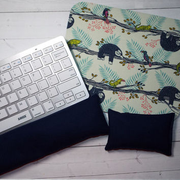 sloth Mouse pad set - mouse wrist rest - keyboard rest - coworker gift, teacher gift, under 50, office accessories, desk, cubical decor