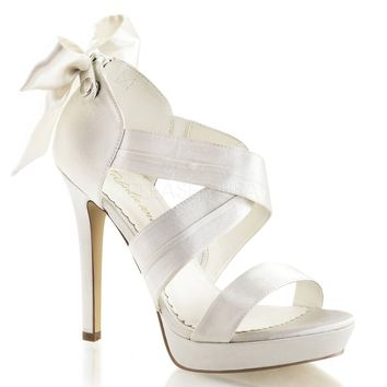 4 3/4 Inch Heel, 1 Inch Platform Criss Cross Sandal With Back Bow, Back Zip