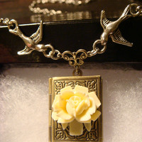 Ivory Rose with Flying Birds Vintage Style Book locket Necklace (1144)