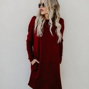 Fashion Casual Loose Knitted Dress Spring Women Long Sleeve O Neck Pocket Solid Dresses Knitwear Robe Vestidos