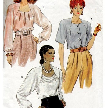 Vogue 8231 Sewing Pattern Loose Fit Blouse Raised Draped Neckline Button Cuffs Pleated Front Business Formal Shirt Bust 38