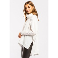 Cowl Neck Thermal Top - Off White