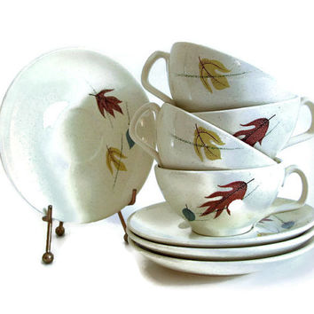 Mid Century Vintage- Franciscan China- Autumn- Cups and Saucers- Set of 4, Retro Dinnerware, Fall Leaves, Earth Tones-Replacement China