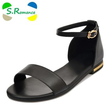 S.Romance Genuine Leather Hot Sale Fashion SummerWomen Flats Heel Sandals Casual Buckl