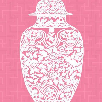Chinoiserie Ginger Jar on Honeysuckle Pink 11x14 by thepinkpagoda