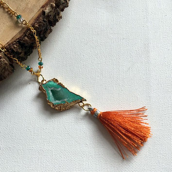 Tassel Necklace, Charm Necklace, Mint Green, Orange, Womens Jewelry, 26 Inch Necklace