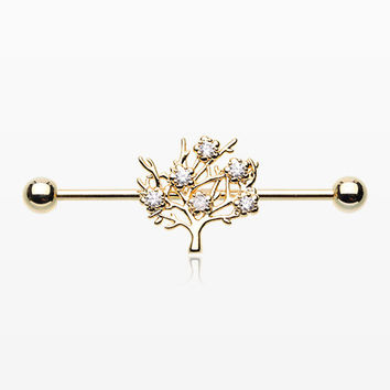 Golden Tree of Life Sparkle Industrial Barbell