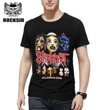 Rocksir 2017 Summer Style Fashion Men T Shirt Black T-Shirt Tshirt Men's Shirt Cotton Rock Band Slipknot Print Hip Hop Tee
