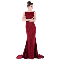 Long Evening Dresses with Dark red Mermaid Backless Boat neck Floor-length Sleeveless Prom patry dresses