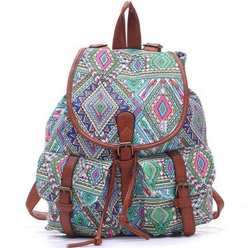 Day-First™ Cute College Aztec School Bag Travel Bag Canvas Lightweight College Backpack