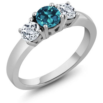 1.21 Ct Round London Blue Topaz White Topaz 925 Sterling Silver 3-Stone Ring